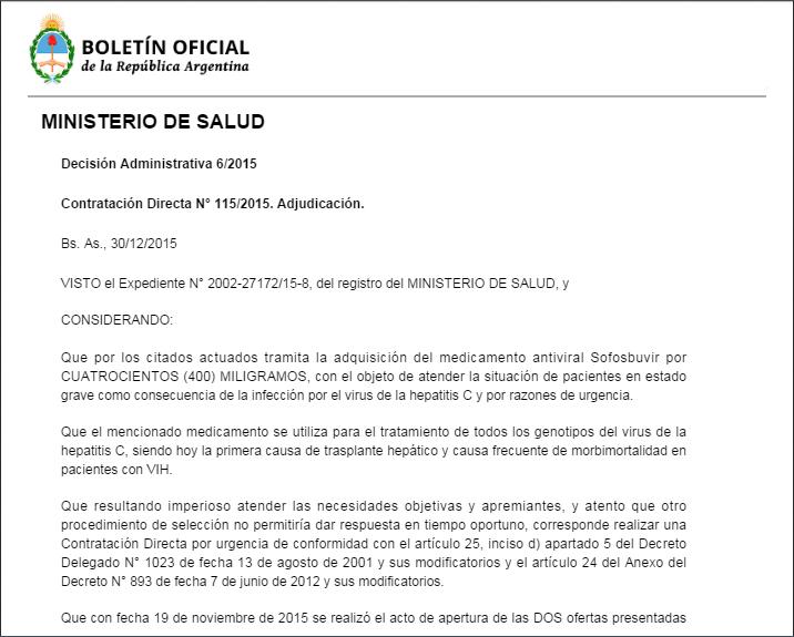 Boletin Oficial medicamentos HCV